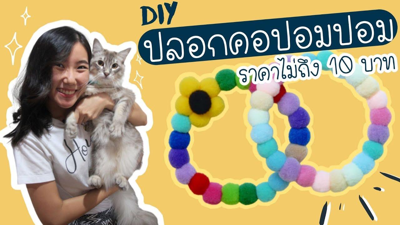 DIY Pom Pom Pet Collar Under $1 : DIY ปลอกคอปอมปอม ราคาไม่ถึง 10 บาท สำหรับน้องแมว น้องหมา