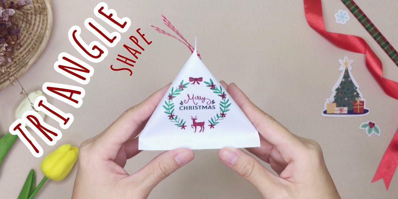 How to Wrap Gift in Triangle Shape: วิธีทำถุงของขวัญสามเหลี่ยมสำหรับห่อของขวัญปีใหม่