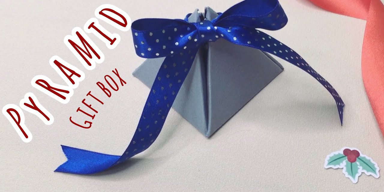 DIY pyramid gift box for Christmas: วิธีทำกล่องของขวัญน่ารักๆ ทรงพีระมิดจากกระดาษแผ่นเดียว+ไม่ใช้กาว