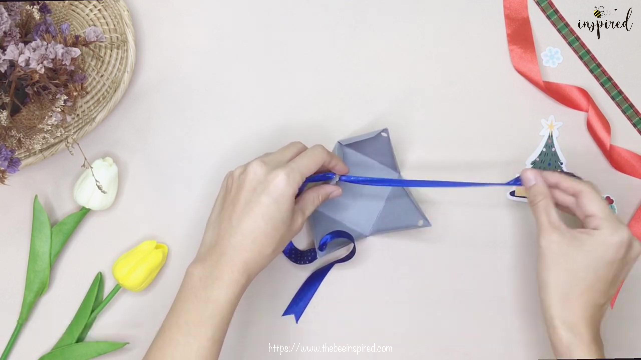 วิธีทำกล่องของขวัญวันวาเลนไทน์น่ารักๆ ทรงพีระมิดจากกระดาษแผ่นเดียว+ไม่ใช้กาว_ DIY pyramid gift box_10