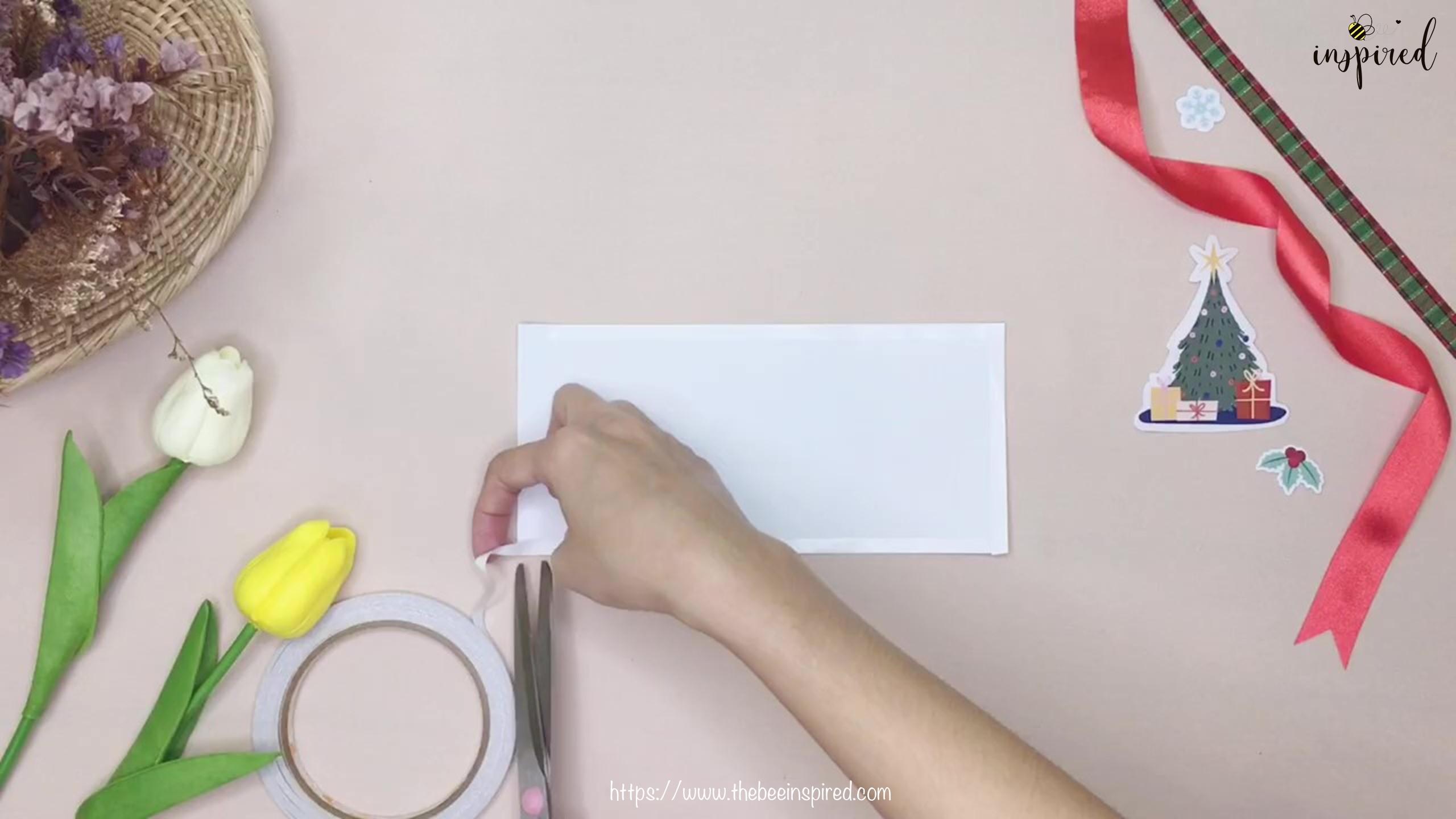 DIY วิธีทำถุงของขวัญวันวาเลนไทน์สามเหลี่ยม_ How to Wrap Gift in Triangle Shape for Valentine_2