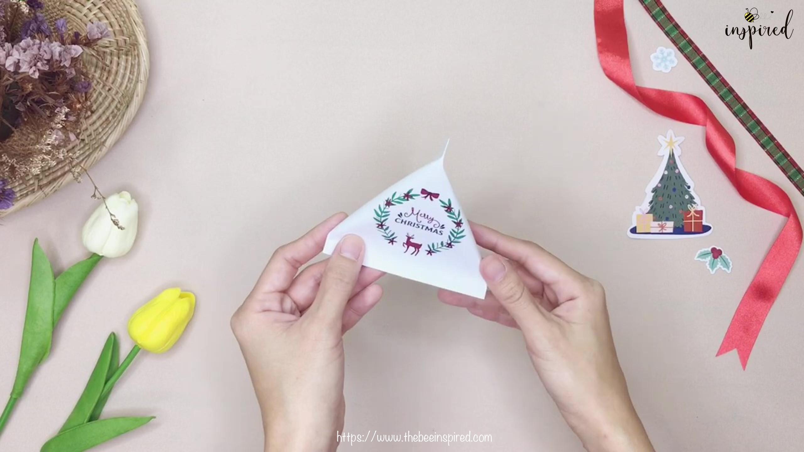 DIY วิธีทำถุงของขวัญวันวาเลนไทน์สามเหลี่ยม_ How to Wrap Gift in Triangle Shape for Valentine_9