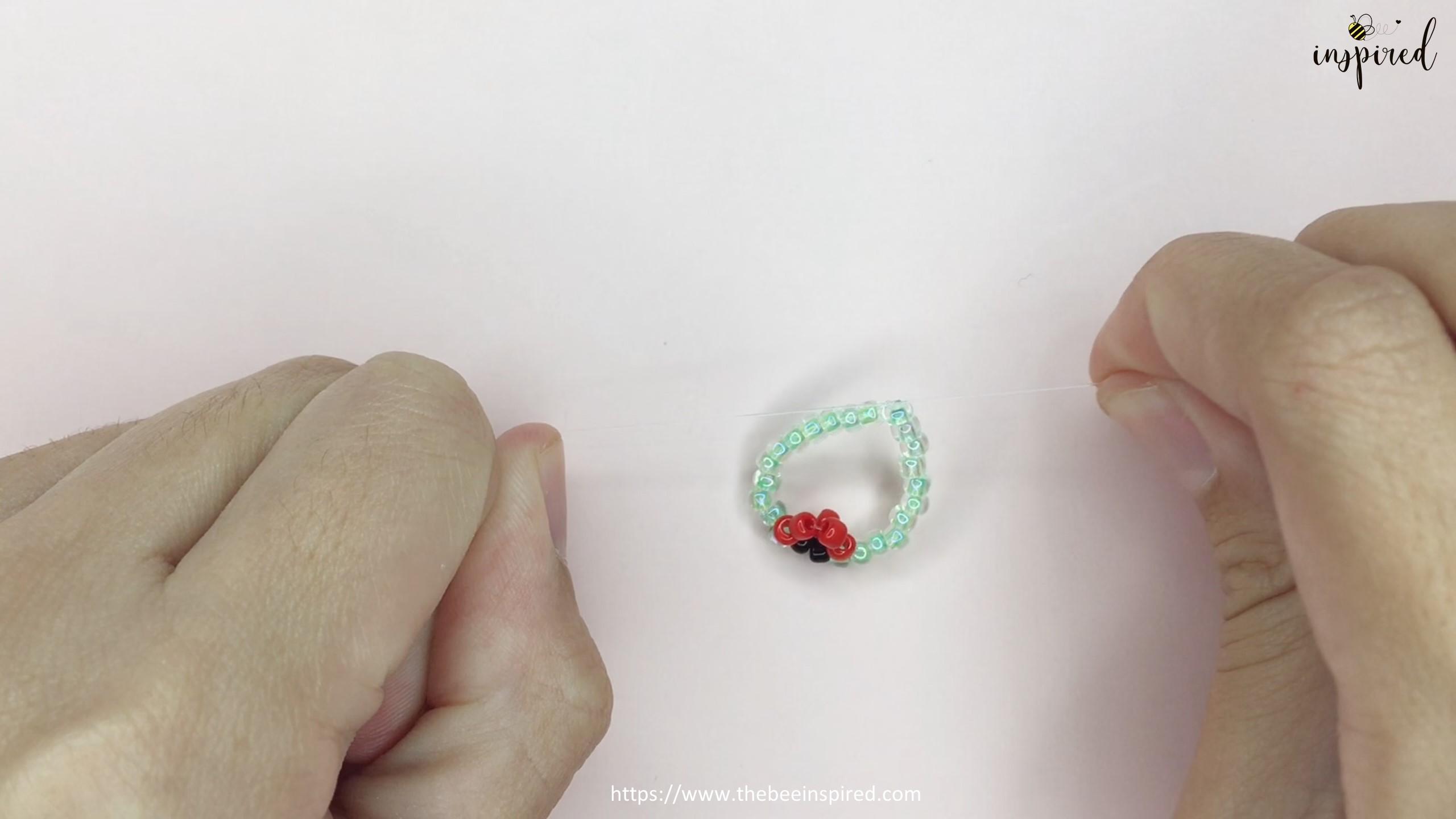 วิธีร้อยแหวนลูกปัดเต่าทอง ง่ายๆ สไตล์เกาหลี - How to Make Ladybug Beaded Ring_12