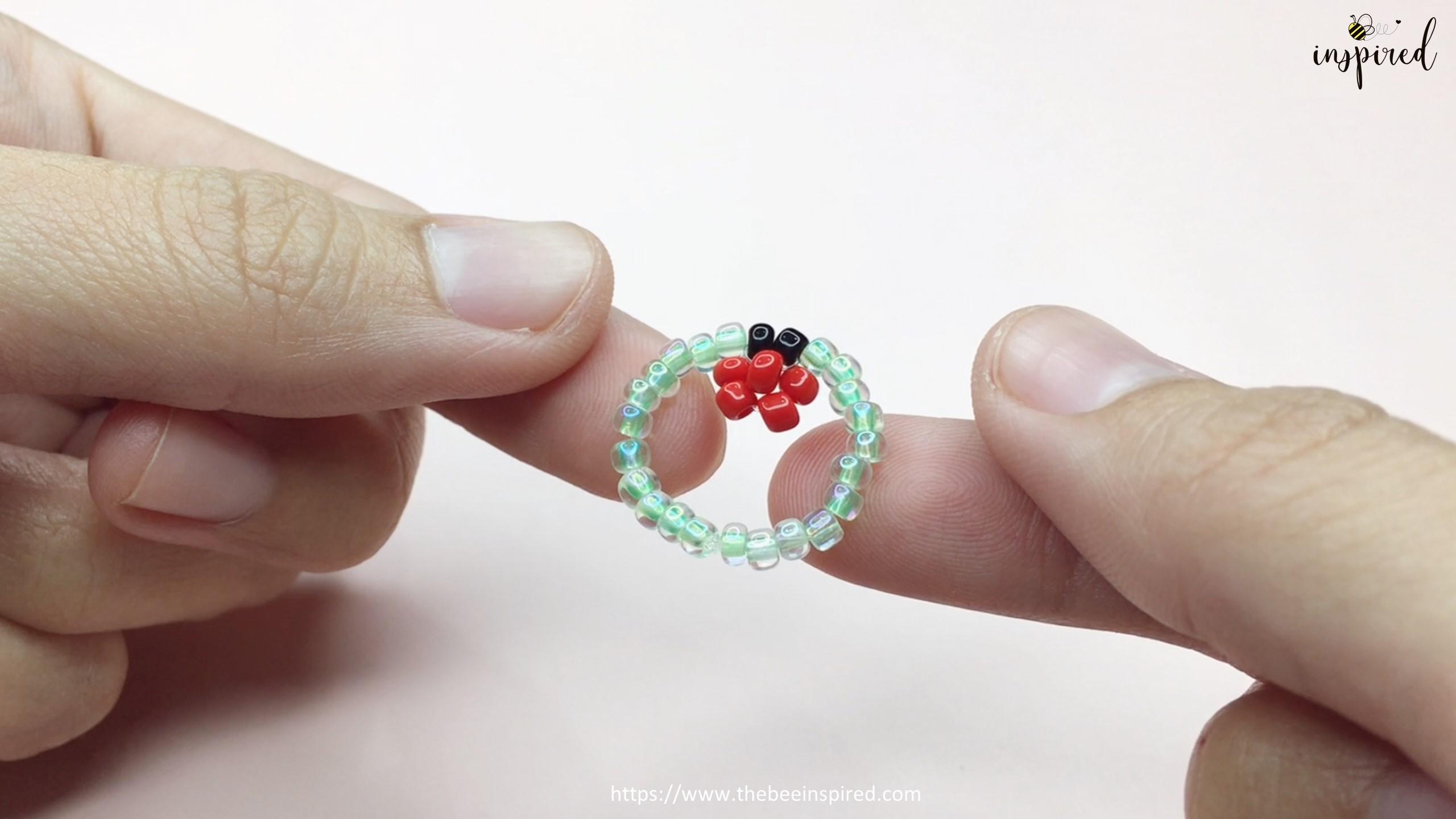 วิธีร้อยแหวนลูกปัดเต่าทอง ง่ายๆ สไตล์เกาหลี - How to Make Ladybug Beaded Ring_17