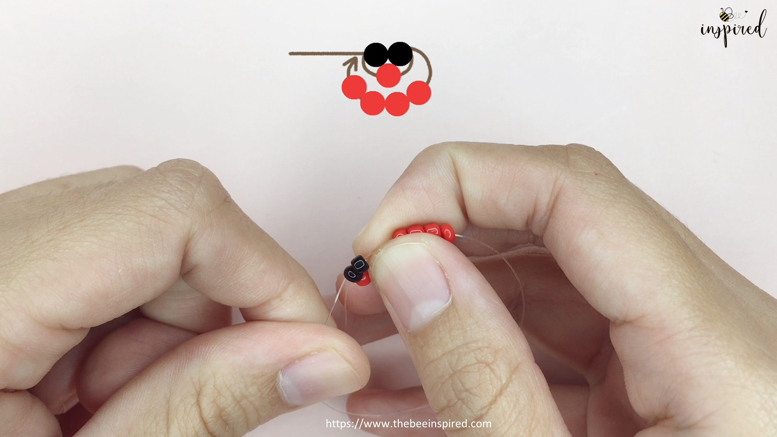 วิธีร้อยแหวนลูกปัดเต่าทอง ง่ายๆ สไตล์เกาหลี - How to Make Ladybug Beaded Ring_7
