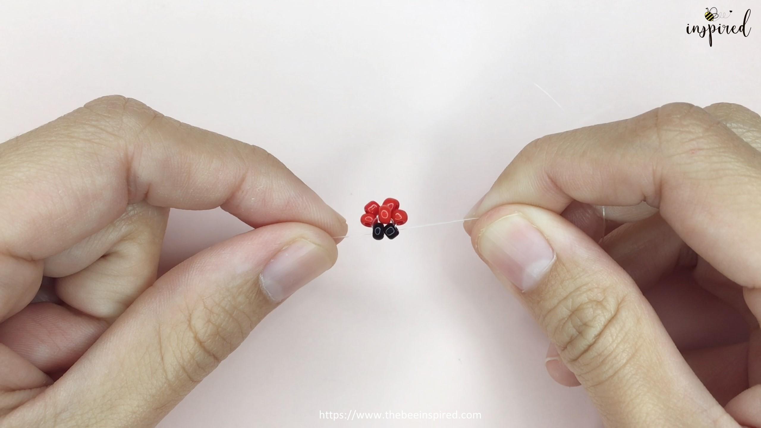 วิธีร้อยแหวนลูกปัดเต่าทอง ง่ายๆ สไตล์เกาหลี - How to Make Ladybug Beaded Ring_8