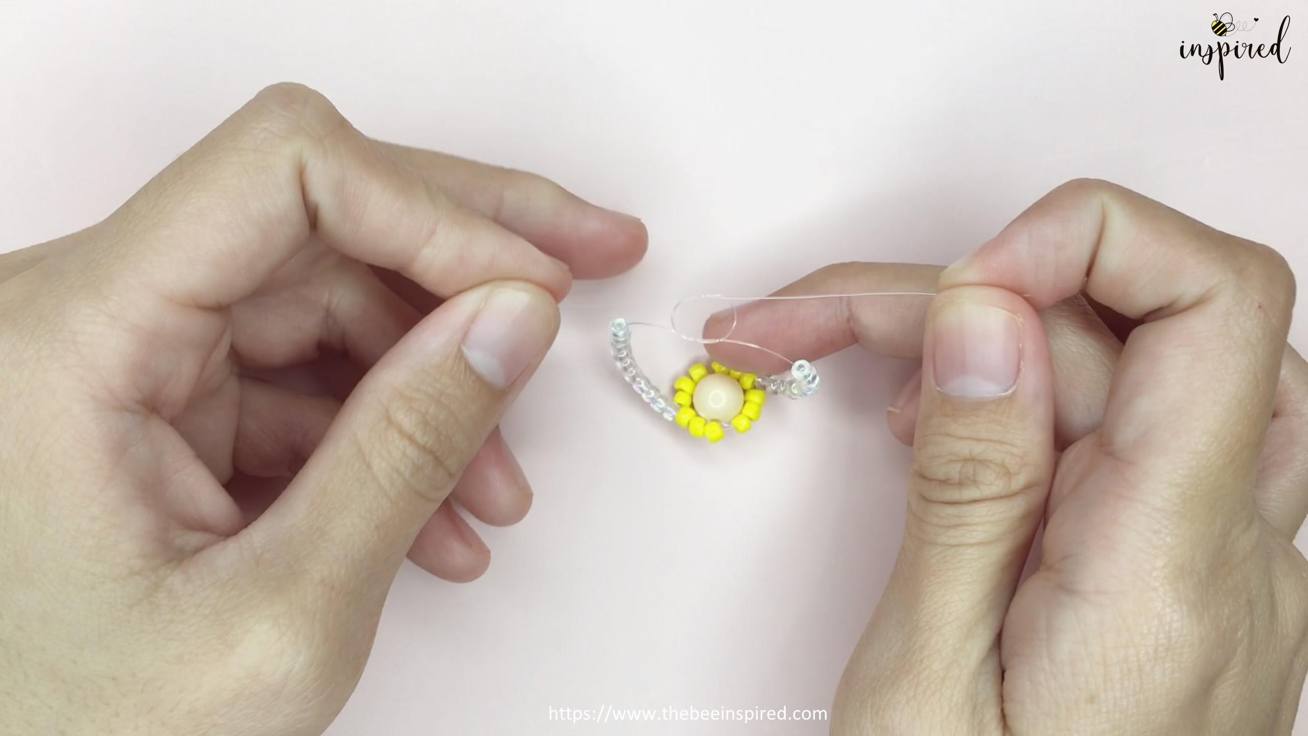 สอนร้อยแหวนลูกปัดดอกทานตะวัน ทำง่ายๆ สไตล์เกาหลี - How to Make Sunflower Beaded Ring_17