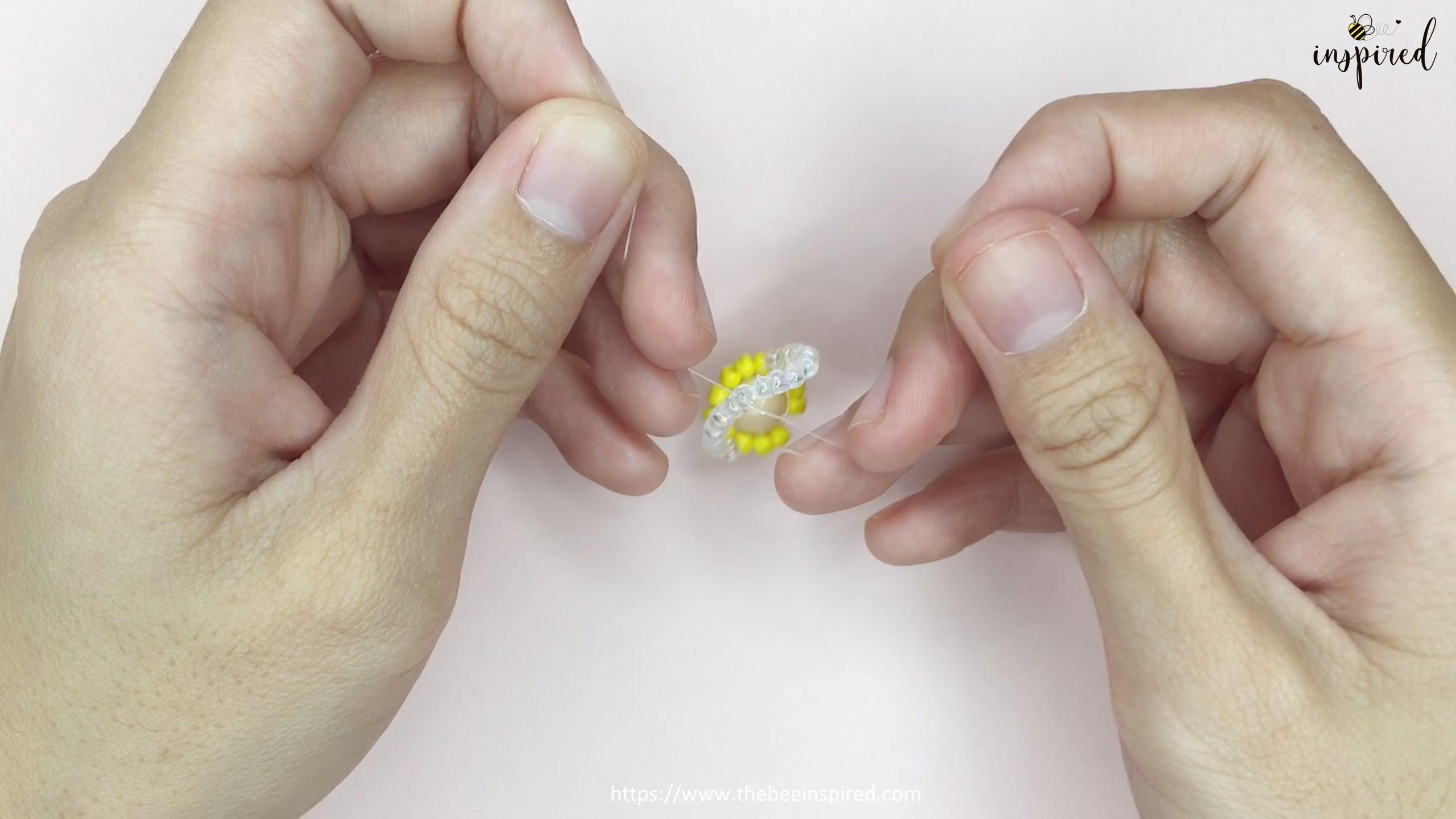 สอนร้อยแหวนลูกปัดดอกทานตะวัน ทำง่ายๆ สไตล์เกาหลี - How to Make Sunflower Beaded Ring_18