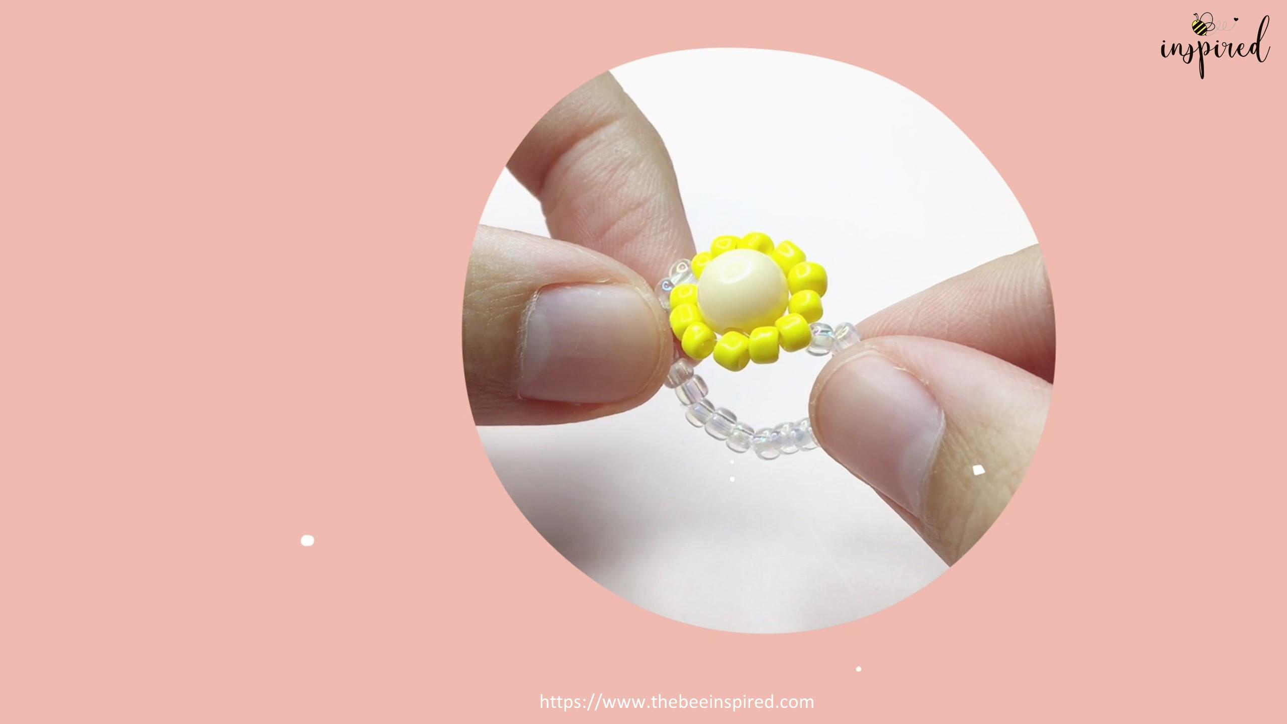 สอนร้อยแหวนลูกปัดดอกทานตะวัน ทำง่ายๆ สไตล์เกาหลี - How to Make Sunflower Beaded Ring_22