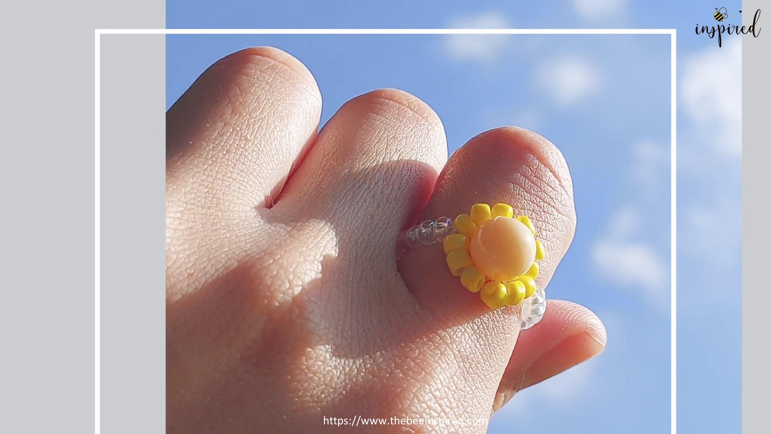 สอนร้อยแหวนลูกปัดดอกทานตะวัน ทำง่ายๆ สไตล์เกาหลี - How to Make Sunflower Beaded Ring_23