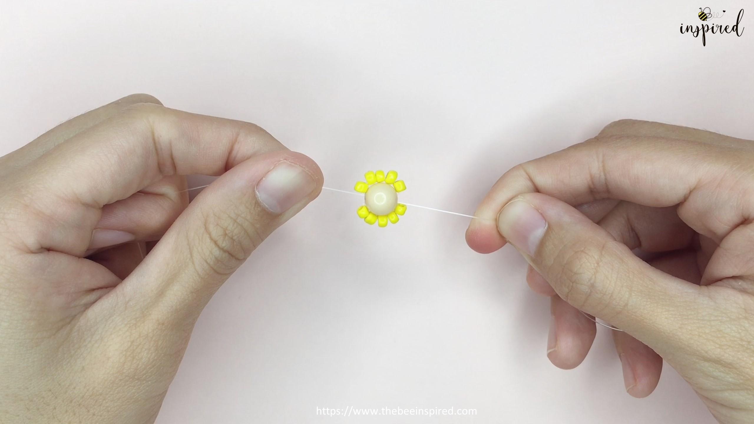 สอนร้อยแหวนลูกปัดดอกทานตะวัน ทำง่ายๆ สไตล์เกาหลี - How to Make Sunflower Beaded Ring_6
