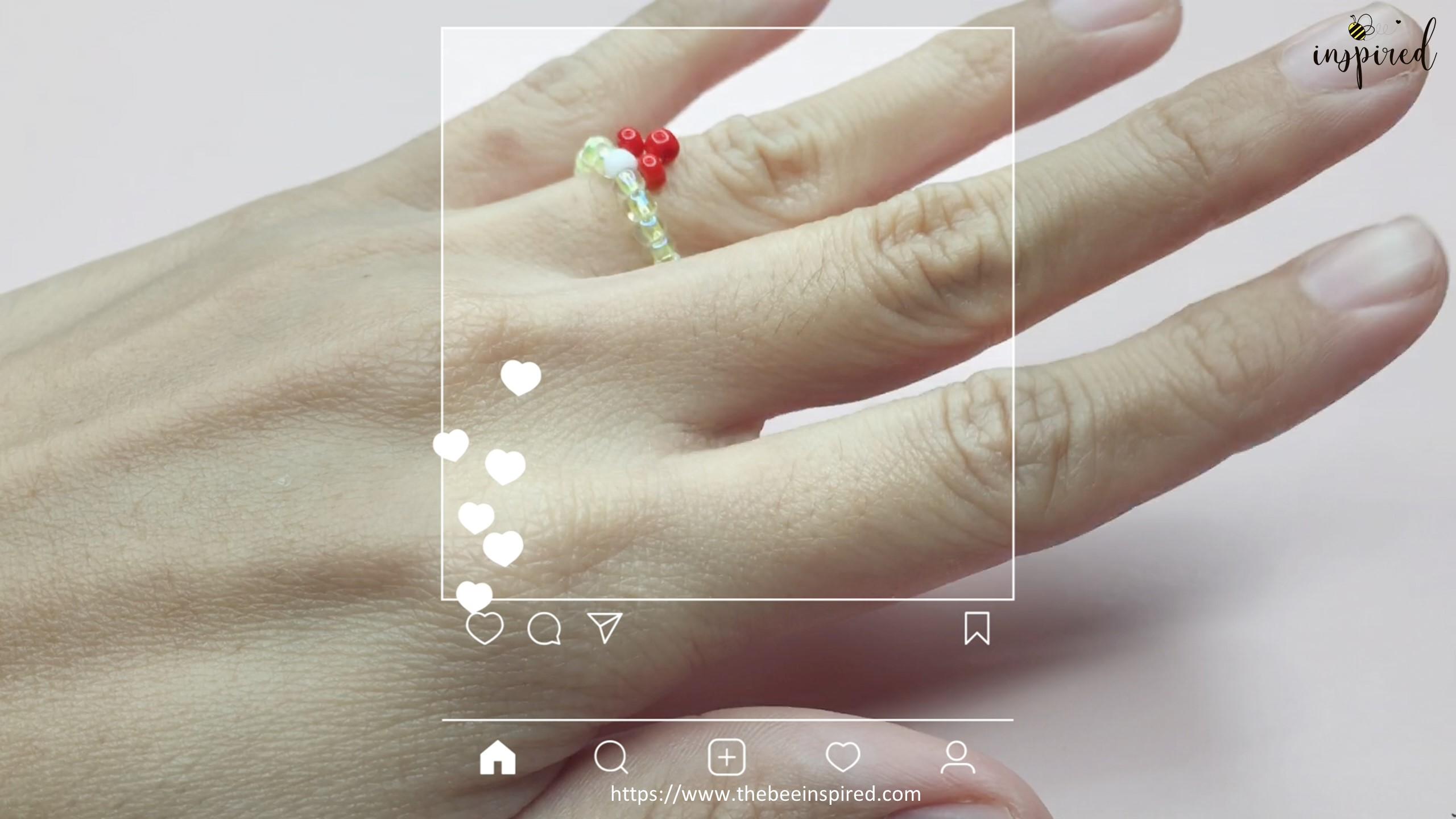 สอนร้อยแหวนลูกปัดลายเห็ด ทำง่ายๆ สไตล์เกาหลี - How to Make Mushroom Beaded Ring_16