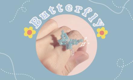 How to Make Butterfly Beaded Ring: สอนร้อยแหวนลูกปัดผีเสื้อง่ายๆ สไตล์เกาหลี