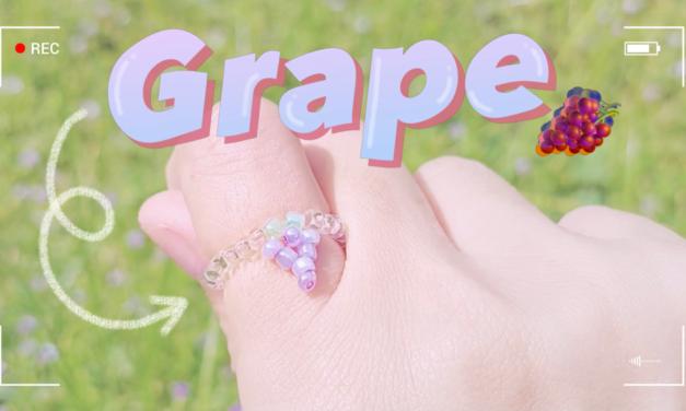 HOW TO MAKE GRAPE BEADED RING: สอนร้อยแหวนลูกปัดองุ่น ทำง่ายๆ สไตล์เกาหลี